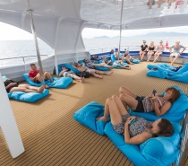Laze around on our massive sun-decks on three levels